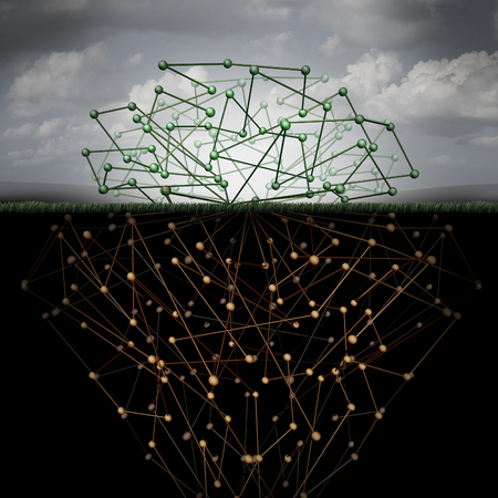 Dark web and hidden internet technology as a hidden website in cyberspace underground search engines as a buried data symbol for the deepnet as a network group of connected geometry shaped as roots under the surface. Banco de Imagens