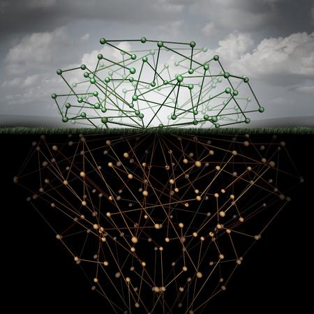 Dunkle Web und versteckte Internet-Technologie als eine versteckte Webseite im Cyberspace U-Bahn-Suchmaschinen als vergrabene Datensymbol für die Deepnet als Netzwerk-Gruppe verbundener Geometrie als Wurzeln unter der Oberfläche geformt. Lizenzfreie Bilder