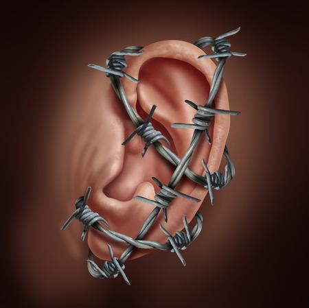 dolor de oido: dolor de oído humano y el símbolo de una infección de oído como alambre de púas envuelto alrededor de la parte del cuerpo de audición causa una enfermedad aguda como la quema de la otitis o swimmmers dolor de oído.