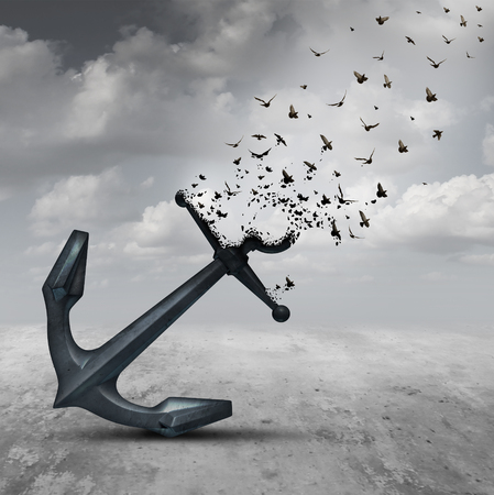 Letting go psychology concept as a heavy anchor transforming into a flying group of birds as a motivational metaphor for liberation and leaving a life or business burden behind.