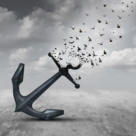 ancla: Dejando concepto de la psicología ir como un ancla pesada transformando en un grupo de pájaros que vuelan como una metáfora de motivación por la liberación y dejando una vida o negocio carga atrás. Foto de archivo