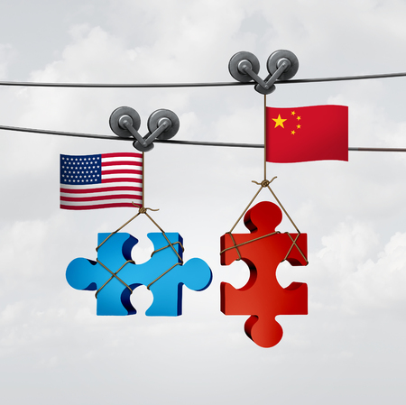 diplomacy: American and Chinese cooperation success as two pieces of a jigsaw puzzle fron the United States and China coming together to unite as a global teamwork metaphor for international agreement and mutual understanding.