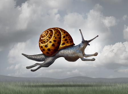 Transforming for success as a business concept for adapting and evolving for a more aggressive strategy as a snail changing into a cheetah shape to become more competitive.