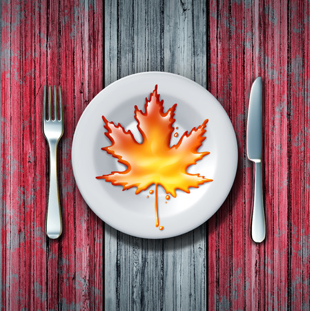 sugar maple: Canadian maple syrup leaf on a plate with fork and knife as a sweet golden brown delicious liquid representing a natural food product from Canada as tree sap for cooking or baking.