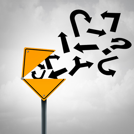 financial guidance: Business guidance communication concept as an open yellow traffic sign releasing a group of different direction arrows as a metaphor for financial or legal advice. Stock Photo