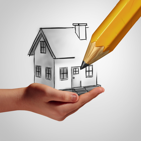 home planning: Dream home concept as a hand holding a drawing of a family house that is being drawn by a pencil as a real estate investment metaphor for dreaming of a custom residence and planning a new construction.