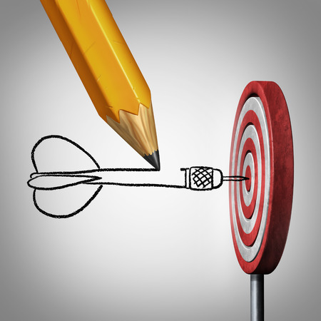 koncept: Success goal planning business concept as a pencil drawing a dart hitting the center of a target on a dartboard as a metaphor for controllig your destiny by creating a plan and visualization.