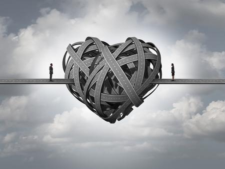 Confundido sobre el concepto de amor como en el estrés en una relación o divorcio románticas problemas de un matrimonio y las relaciones humanas que requieren terapia de asesoramiento y parejas.
