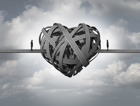 секс: Confused о концепции любви как в стресс в романтические отношения или развода вопросам супружеской пары и человеческих отношений, требующих консультирования и терапии пар. Фото со стока