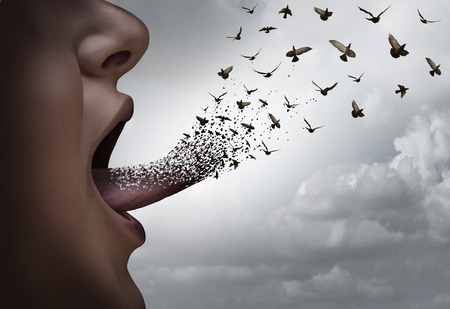 Communication concept a a person with an open mouth voicing an idea with a tongue transforming into flying birds as a thought distribution metaphor for expression and marketing ideas.