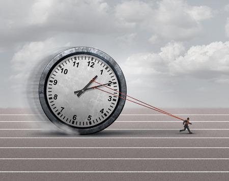 cronologia: Tiempo de carga concepto de negocio como empresario o empleado cargado tirando de un reloj pesado como un símbolo para el estrés o la presión fecha límite horario y un icono para su envejecimiento.