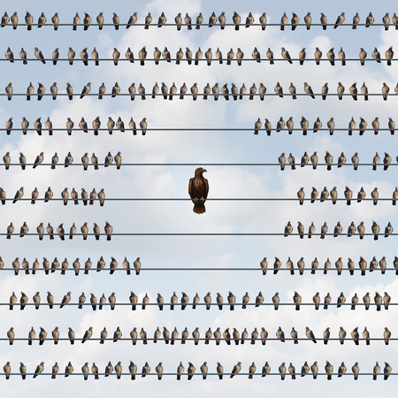 Avoiding risk as a business avoidance concept with a group of birds on a wire staying away from a threatening eagle as a dangerous bird of prey as a metaphor for being vulnerable to impending threats.
