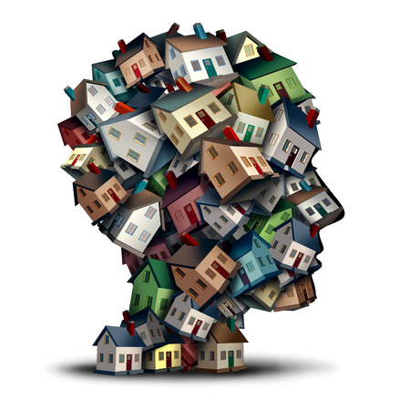 human head: Real estate agent symbol and thinking of home mortgage rates concept as a group of homes or houses shaped as a human head  for a house loan or realty broker industry. Stock Photo