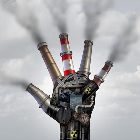 Man inquinamento fatta fermata fumo tossico simbolo come sporca fabbrica industriale con le pile di immondizia fumo e un impianto petrolchimico raffineria forma di mano aperta umana inquinando l'ambiente con tossine nell'aria.