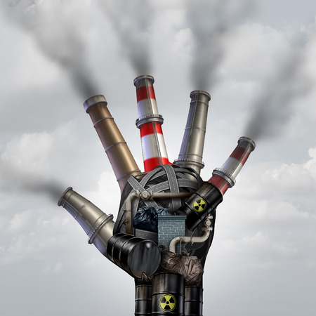 toxins: Man made pollution toxic smoke stop symbol as a dirty industrial factory with garbage smoke stacks and a petrochemical refinery plant shaped as a human open hand polluting the environment with toxins in the air.
