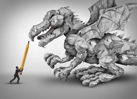 dragones: el estrés concepto de negocio de papel como un hombre de negocios que sostiene un lápiz lucha contra una forma de papeles arrugados y oficina papeleo como una metáfora para la gestión y la burocracia problema del monstruo del dragón. Foto de archivo
