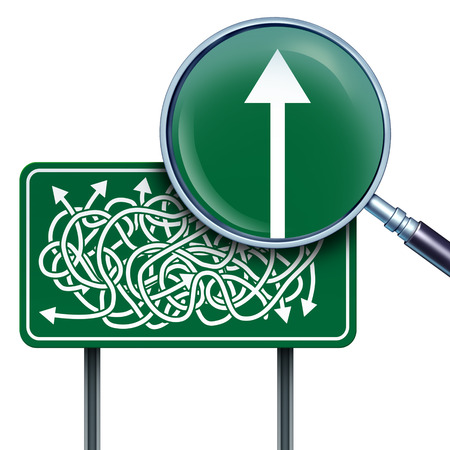 answers highway: Success vision business concept as a highway road sign with confused twisted direction arrows and a magnifying glass with a straight arrow going up as a direction solution metaphor for simplicity and clarification.