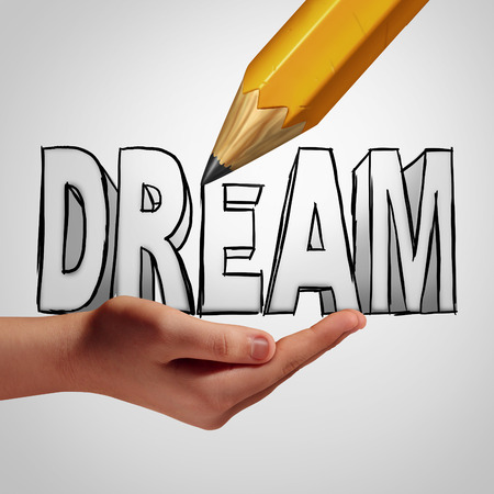 dream planning: Dream planning idea concept to make it happen by taking control and creating your destiny by focusing on a positive strategy for success in the future.
