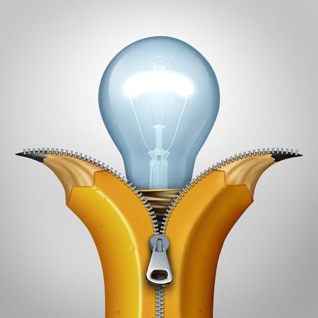Offene Kreativität Strategie und Business-Konzept als geöffneten Reißverschluss auf einem Bleistift wird entpackt und eine helle Glühbirne Symbol als Metapher für Innovation Erfindung und Entdeckung enthüllt. Standard-Bild