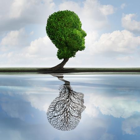 Concetto di depressione e sentimenti nascosti simbolo privato come un albero con le foglie a forma di una testa umana con una riflessione sull'acqua con un impianto vuoto come idea psicologia interna per la visualizzazione di emozioni nascoste. Archivio Fotografico - 52657715