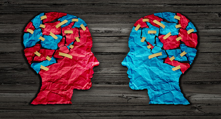 Thinking exchange and idea partnership business communication concept as a red and blue human head cut from crumpled paper sharing broken pieces as a creative collaboration symbol for understanding political opinions or cultural differences. Stock Photo