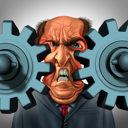 Business squeeze and company trouble concept as a businessman or boss stuck between two gears or cog wheels resulting in a painful technology and management problem as a corporate pressure symbol.