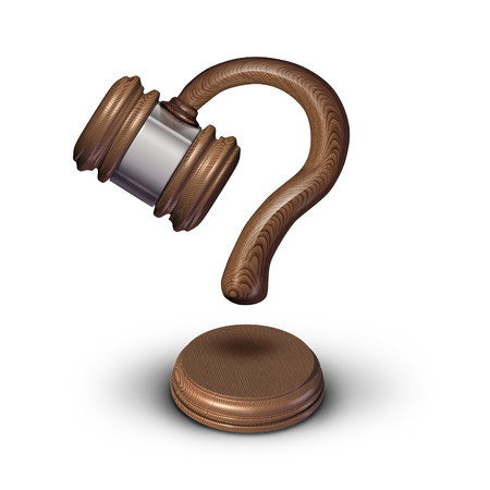enforce: Legal questions concept and court questions symbol and law advice icon as a judge gavel or mallet with a sound block shaped as a question mark representing uncertainty in legality issues or sentencing decision.
