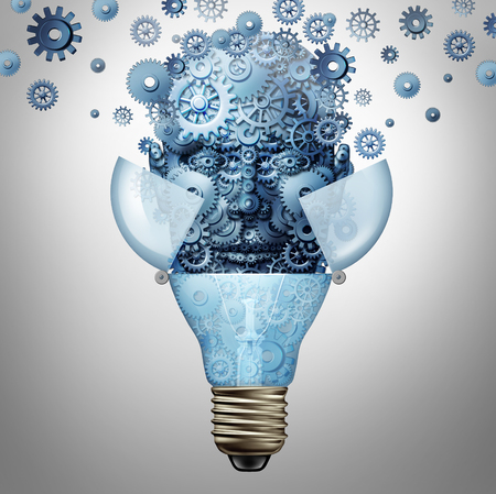 conceive: Artificial intelligence ideas as a robot head symbol made of gears and cog wheels emerges out of an open light bulb or lightbulb as an icon of highly advanced creative computing technology. Stock Photo