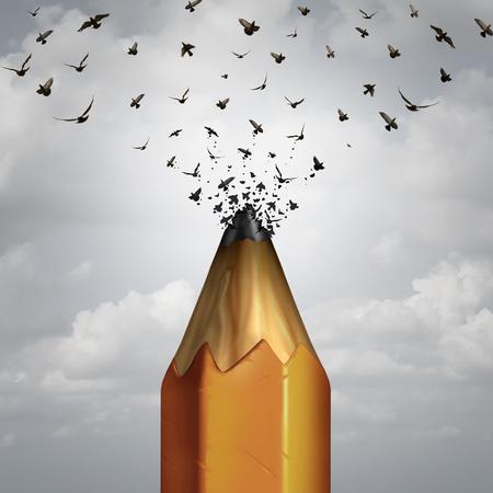 flucht: Creative Bleistift-und Flug-Konzept Erfolg als Lead einer Bleistiftspitze nehmen in einer Gruppe von Vögeln in die Freiheit als Ikone der Marketing-Bildung und Business Kreativität auszuziehen Umwandlung zu brechen weg.