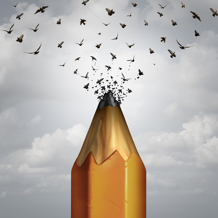 flight: Creative pencil and take flight success concept as the lead of a pencil tip breaking away transforming into a group of birds taking off to freedom as an icon of marketing education and business creativity.