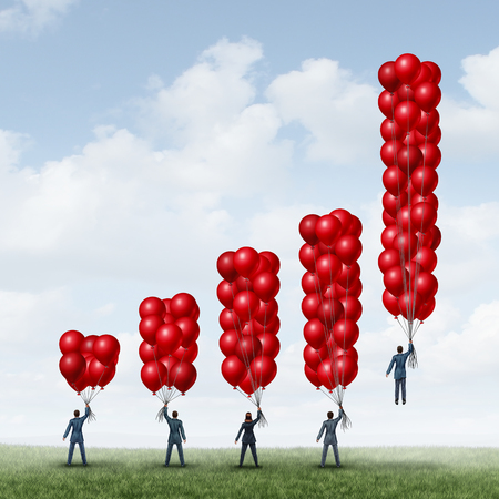 rise above: Business success graph as a group of businesspeople holding balloons shaped as a financial chart with one individual businessman with enough balloon objects accumulated to reach critical mass to rise above and succeed. Stock Photo