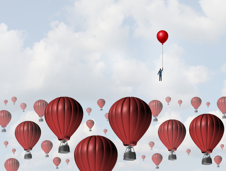 strategy: Increase efficiency and improve performance business concept as a businessman holding a balloon leading the race to the top against a group of slow hot airballoons by using a low cost winning strategy.