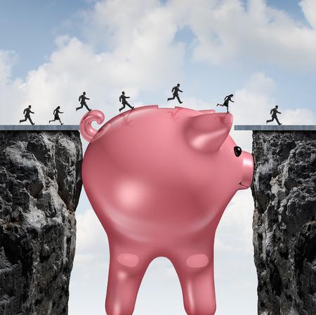 Argent pont concept financier comme une énorme tirelire combler l'écart entre deux falaises comme financemetaphor pour solution budgétaire ou l'aide économique et de l'investissement pour aller de l'avant. Banque d'images