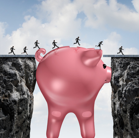 gaps: Money bridge financial concept as a huge piggy bank closing the gap between two cliffs as a financemetaphor for budget solution or economic assistance and investment to go forward.
