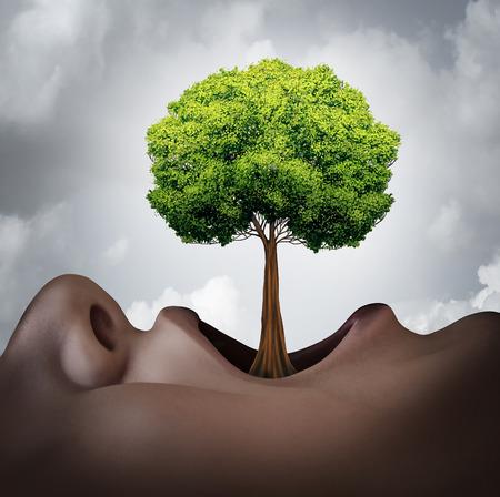 comunicacion oral: El crecimiento de su concepto de vocabulario y símbolo de la terapia del habla como una boca abierta humano con un árbol que crece como una lengua como una metáfora de la gramática de la lengua y el crecimiento de voz. Foto de archivo