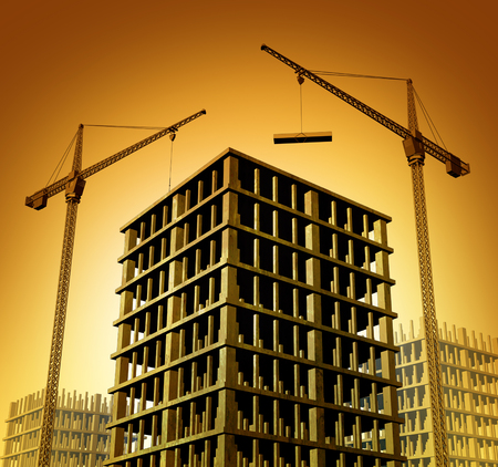 Construction development site with building cranes constructing condominiums or a business apartment skyscraper as a symbol for economic growth and activity on a sunset background. Stock Photo