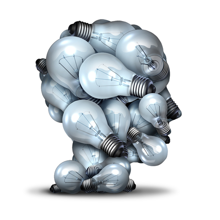 light bulb idea: Light bulb head creativity and the power of imagination concept as a group of lightbulbs shaped as a human face as an inspiration symbol for thinking of new ideas and the inventive mind.