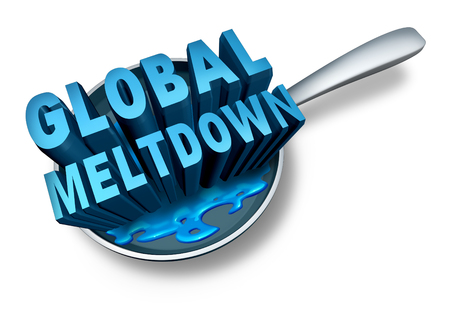 slump: Global meltdown and financial crisis as a bankruptcy finance concept as an economy in trouble and business slump concept on a white background.
