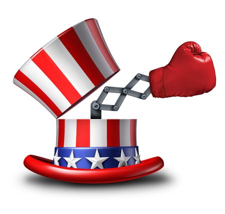 campaigning: American election fight and political strategy concept for campaigning for votes as an open uncle sam top hat decorated with the flag of the United States and a surprise boxing glove emerging out as an icon of debating issues. Stock Photo
