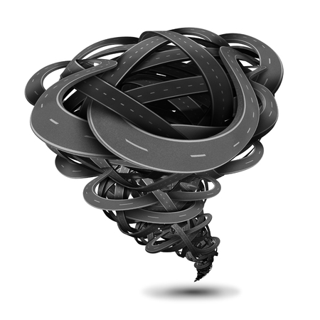 business metaphor: Powerful tornado made of twisted roads and tangled highways shaped as a dangerous funnel twister with destructive power as a business metaphor for destruction forces or transportation or transport issues on white. Stock Photo