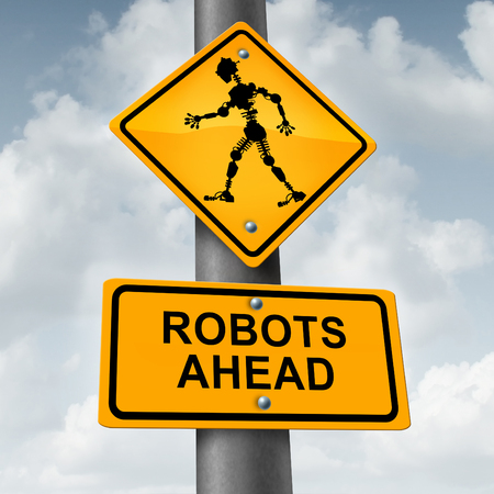Robot and robotic technology concept as a traffic sign with a futuristic humanoid cyborg icon as a symbol forfuture innovation in artificial inelligence and high tech manufacturing or self driving car engineering.