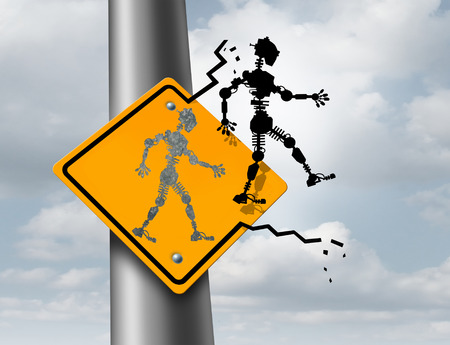 drive car: Robotics technology symbol as an icon of a futuristic robot breaking out of a traffic sign as an artificial intelligence metaphor for connecting the human reality with the virtual world or robots thinking for themselves.