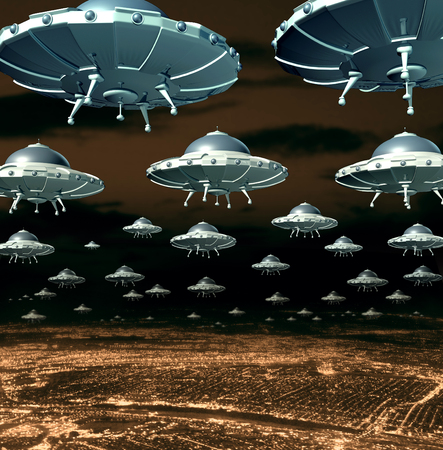 invader: Alien invasion concept as a menacing group of invading flying saucers and spaceships over a city as science fiction ufo extraterrestrial hover crafts from outer space taking over the planet earth. Stock Photo