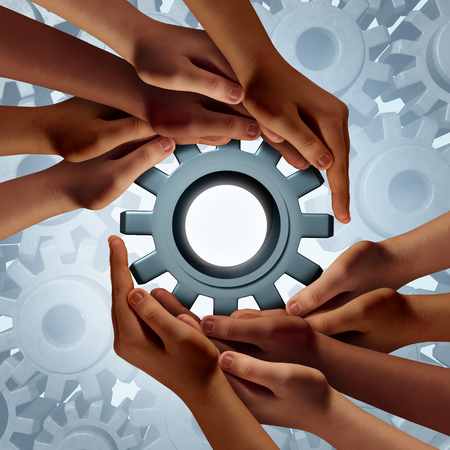 group strategy: Global engineering and diverse community business success symbol as a group of hands holding a gear or cog as a metaphor for globalization cooperation and teamwork strategy. Stock Photo