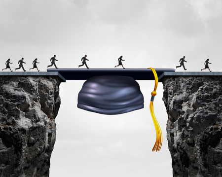 Educación oportunidades de carrera concepto como un grupo de graduarse de la universidad studends que cruzan una tapa birrete de graduación o actuando como un puente para proporcionar una oportunidad y cerrar la brecha para el éxito empresarial. Foto de archivo