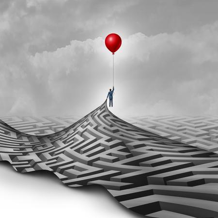 El hombre de negocios concepto de éxito como una metáfora para superar obstáculos como una persona que levanta un laberinto o el laberinto usando un globo rojo como un símbolo para la visión y encontrar una manera de tener éxito. Foto de archivo