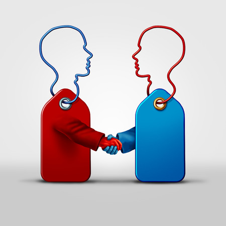 conspire: Price fixing business agreement and collusion concept as two price tagg objects shaped as a human as a symbol for secret pricing deal coming together in a handshake as a metaphor for market deceptive practices. Stock Photo