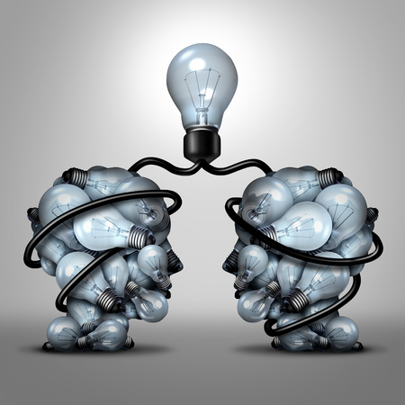 two minds: Creative unity partnership light bulb as two groups of lightbulb objects shaped as a human head joining together for a team project as a concept of inspiration.