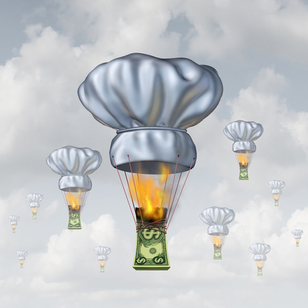 fine tip: Restaurant dining costs and rising food prices concept as a stack of money burning lifting up a chef hat shaped as a hot air balloon as a symbol of the rising expense of entertainment.