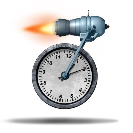 cronogramas: Rápido tiempo de fecha límite concepto de negocio como un reloj transportado por un motor de cohete como una metáfora de velocidad para un mayor servicio más rápido o acelerado de la productividad.